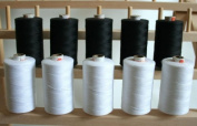 New ThreadNanny LARGE BLACK & WHITE Spools of 3-PLY Polyester Sewing Quilting Serger threads