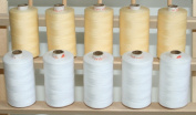 New ThreadsRus LARGE WHITE AND ECRU Spools of 3-PLY Polyester Sewing Quilting Serger threads