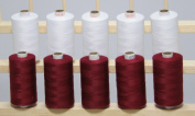 New ThreadsRus 10 LARGE MAROON & WHITE Spools of 3-PLY Polyester Sewing Quilting Serger threads from THREADSRUS