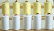 ThreadsRus 10 LARGE WHITE AND LIGHT LEMON SPOOLS of 3-PLY Polyester Sewing Quilting Serger threads