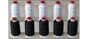 10-cone Polyester Embroidery Thread Kit - 5 White & 5 Black - 1100 yards - 40wt