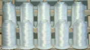 NEW THREADSRUS 10 WHITE CONES POLY MACHINE EMBROIDERY THREADS