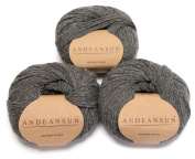 100% Baby Alpaca Yarn Skeins - Set of 3 (Medium Grey) - AndeanSun - Luxuriously soft for knitting, crocheting - Great for baby garments, scarves, hats, and craft projects – MEDIUM grey