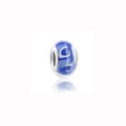 Charm Factory Blue Wave Lampwork Glass Bead