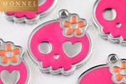 M24 Cute 10 pcs Hot Pink Sugar Skull Charm Pendant