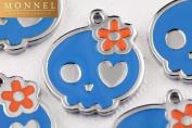 M57 Wholesale Cute Blue Sugar Skull Design 10pcs Bead Charm Pendant