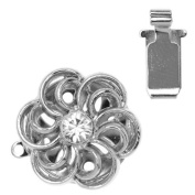 Rhodium Plated Box Clasp - Ornate Flower With. ELEMENTS 17.5mm