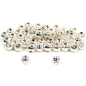 (50) 3mm Sterling Silver Round CORRUGATED Beads 31016