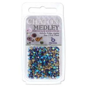 Preciosa Chaton Medley Mix Jet Ab 2.5mm to 4.75mm Pointed Foil Back Round Crystal Setting Stones 5 Grammes