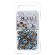 Preciosa Chaton Medley Mix Aqua 2.5mm to 4.75mm Pointed Foil Back Round Crystal Setting Stones 5 Grammes