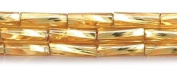 Preciosa Ornela Czech Twisted Bugle Glass Bead No.3, 2 by 7mm, Silver Lined, Gold