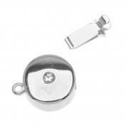 Rhodium Plated Box Clasp - Disc Shaped With. ELEMENTS 12mm Diameter