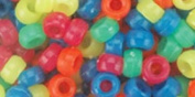 Blue Moon Beads Pony Beads 6 by, 9mm, 480/Pkg, Neon Multi