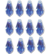 6.5x13mm Preciosa Czech Crystal Faceted Drop Sapphire Ab Beads 498 68 301 Package of 12