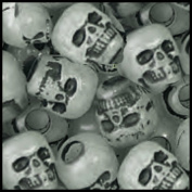 SKULL BEAD Antiqued Night Glow in the Dark pk/50 Large Hole Made in USA!