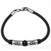 Bico Australia Jewellery - Earthdivers Beaded Black Rubber Bracelet - Pariacaca Ca3 20cm