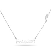 New 925 Sterling Silver Cz Inspirational 'Freedom' Wing Necklace