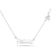 New 925 Sterling Silver Cz Inspirational 'Peace' Dove Necklace