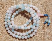 The Art of CureTM (60cm ) Healing Jewellery & Mala meditation beads (108 beads on a strand) Healing semi-precious stones - Aquamarine & Rose Quartz Crystal