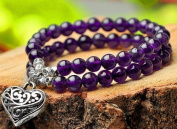 The Art of CureTM (36cm ) Healing Jewellery & Mala meditation beads (50 beads on a strand) Amethyst & Tibetian Silver
