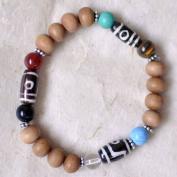Sandalwood & Dzi Beads Chakra Stretch Wrist Mala