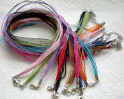 100pcs Mixcolor 4+1 Voile Ribbon Necklace Cord 46cm w/Extender~Jewellery Making~