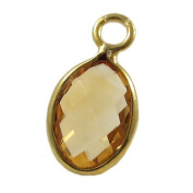 Citrine Faceted Oval and Vermeil Pendant