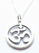 Om Ohm Charm Necklace Sterling Silver Yoga Jewellery 46cm