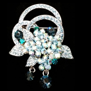 Clear Tin-plated Alloy Crystal Czech Wedding Bridal Bouquet Flower Brooch