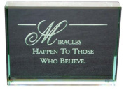 Miracles Happen Hand Carved Polished Glass Paperweight