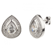 New Gorgeous 925 Sterling Silver Cz Pear Shape Earrings with Gift Box
