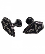 Classic Stainless Steel Shield Cross Cufflinks - Steampunk, Rocker Inspired