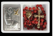 Confirmation 7mm Red and Black Rosary Beads Set Includes Matching Confirmation Plaque Set Deluxe Gift Boxed