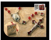 Confirmation 7mm Red and Crystal Aurora Rosary Beads Set Includes Confirmation Plaque Set Deluxe Gift Boxed