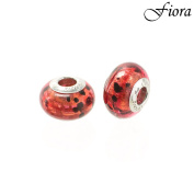 Scarlet Red and Black Lava Lamp Murano Glass Bead- Fiora Italian Charms