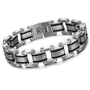 Elegant Style Stainless Steel Bracelet + an Energy Card of 2K Negative Ions (For Men)-77BR