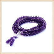 The Art of CureTM (70cm ) Healing Jewellery & Mala meditation beads (108 beads on a strand) Healing Amethyst & White Crystal