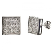 New Mens/unisex 925 Sterling Silver Cz Square Stud Earrings