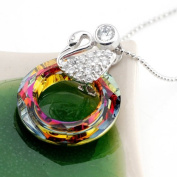 """. Swiss Crystal Drop Pendant Sterling Silver Necklace-Swan with Rainbow Drop,925 Pure Sterling Silver 2.6cm H x 2cm W, Weight 3.83g,One of 2010. Perfect for Gift, .  d.Comes with Sterling Silver 16"""" Chain($28.00 V .."""