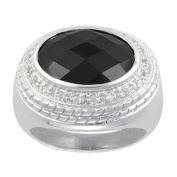 Aura 925 Sterling Silver Ring with Black Onyx and White Topaz Gemstone Size 7.