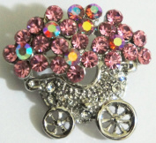 "Crystal Brooch Lapel Pin ""Pink Flowers on Cart"""