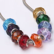 Lot 100 Mix Colour Faceted Crystal Glass European Beads