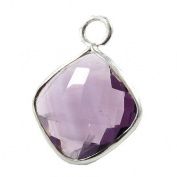 Amethyst Faceted Square and Silver Pendant