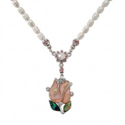 Mother of Pearl Pink Tulip Flower Design Shell 7mm Natural Freshwater White Pearl Chain Pendant Necklace
