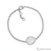 "23352 7"" + .5"" + .5"" Freeform Faceted Pear Moonstone Bracelet Bracelet Hand Arm Chain Silver Sterling 0.925 Mms"