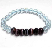 Medicine Dzi Bracelet with Faceted Blue Obsidian 8mm