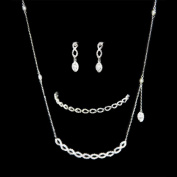 Tear Drop Earrings, Cz Chain Pendant Necklace & Tennis Bracelet