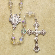 Sterling Silver Rosary Rosaries Catholic Genuine Czech Tin Cut Crystal AB