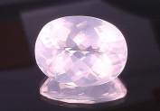 28.69 Carat Madagascar Rose Quartz Oval Checkerboard Gem Stone Gemstone Faceted Natural