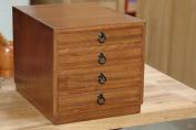 Japanese tansu style jewellery box, KB12, 4 drawers box, teak finish, solid kiri wood